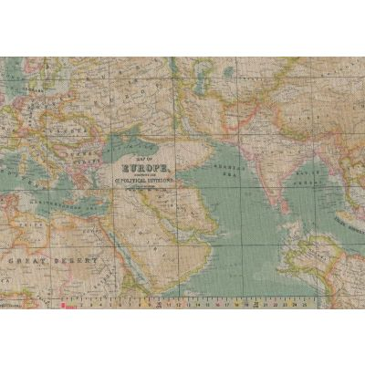Remnant -Upholstery / Curtain Fabric - World Map - Vintage Blue - 280cm Wide - 1m x 280cm - Ex Display
