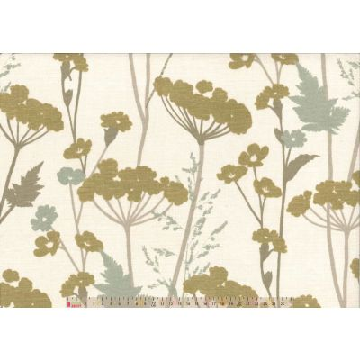 Upholstery / Curtain Fabric - Floral Fields - Gold / Green