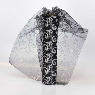Black / Silver Swirl Sheer Organza 29cm Wide