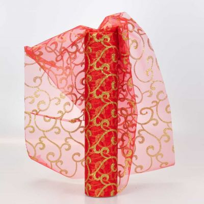 Red / Gold Swirl Sheer Organza 29cm Wide