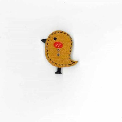 Wooden Caramel Birdie Button 26mm