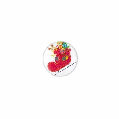 Round White Christmas Sleigh With Presents Button 20mm