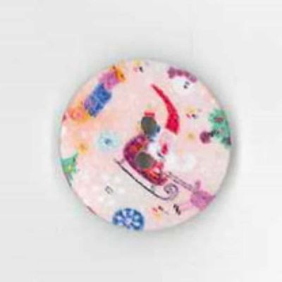 Round Pink Vintage Christmas Button 20mm
