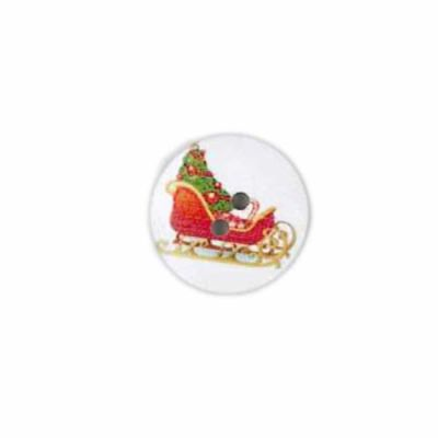 Round White Christmas Sleigh With Tree Button 20mm