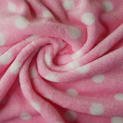 Cuddle Fleece - Spots On Baby Pink