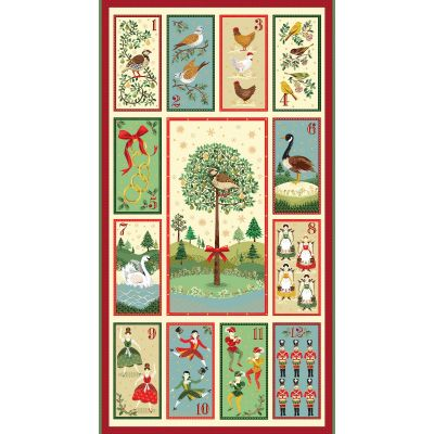 Remnant - Makower - Twelve Days - Advent Calendar Panel - 57cm x 110cm - Miscut