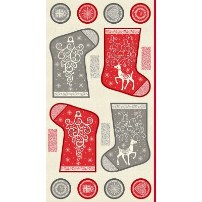 Makower - Scandi 2019 - Christmas Stocking Panel - 60cm