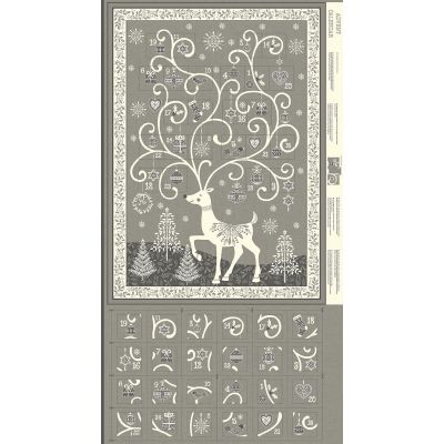 Makower - Scandi 2019 - Advent Calendar Reindeer Panel Silver - 60cm