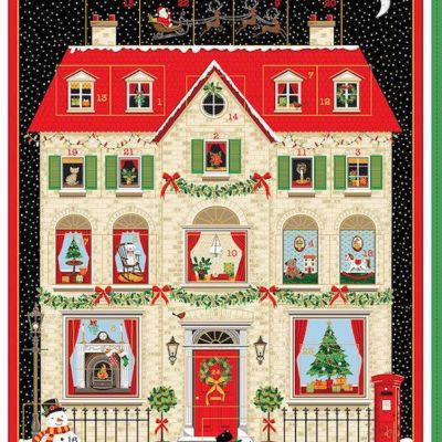 Makower - House Advent Calendar Panel - Option To Upgrade To Kit
