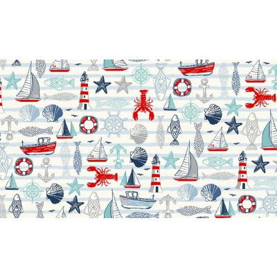 Remnant -  Makower - Sail Away - Icons White - 31 x 110cm