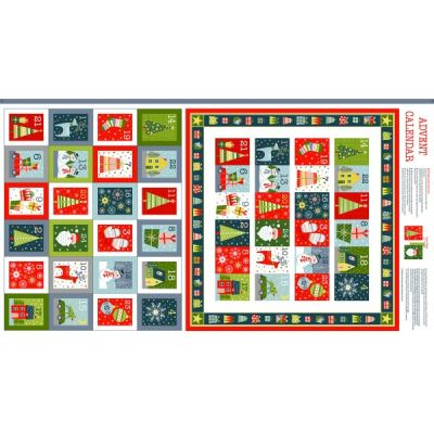 Remnant - Makower - Joy - Advent Calendar Panel - 48 x 110cm - Miscut