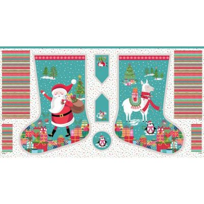 Makower - Jolly Santa - Stocking Panel - 60cm
