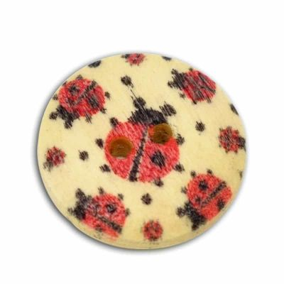 Round Wooden Ladybird Button 18mm