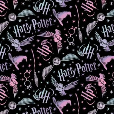 Camelot Fabrics - Flannel Fabric - Harry Potter - Black Tossed Elements