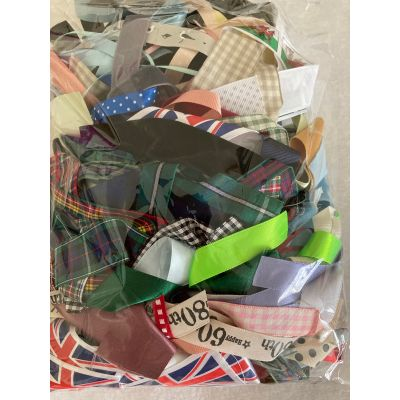 Remnant - Bundle of ribbons - various widths, lengths and colours as image - 250gram