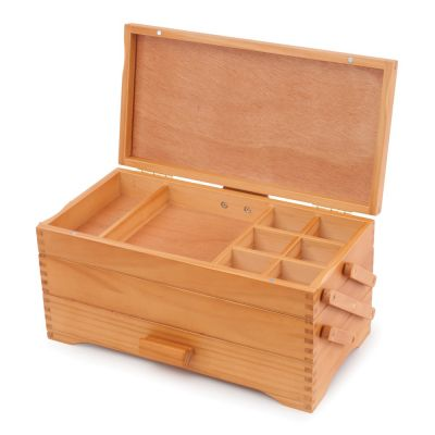 Wooden Pine Cantilever Craft Storage Box