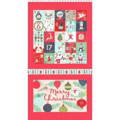 Remnant -Clothworks - 25 Days Of Christmas Cushion Panel - 57 x 110cm - Miscut