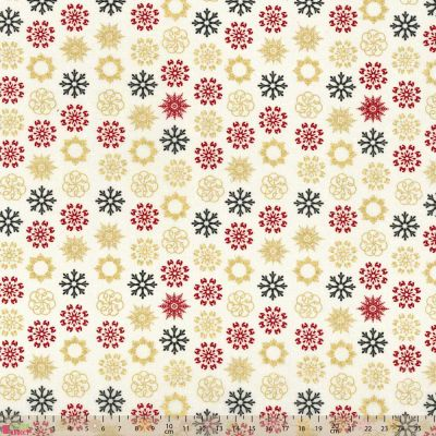 Cotton Fabric - Snowflakes On Cream