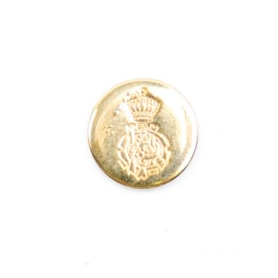 Ornate Crest Metal Round Shank Button Gold Coloured 15mm