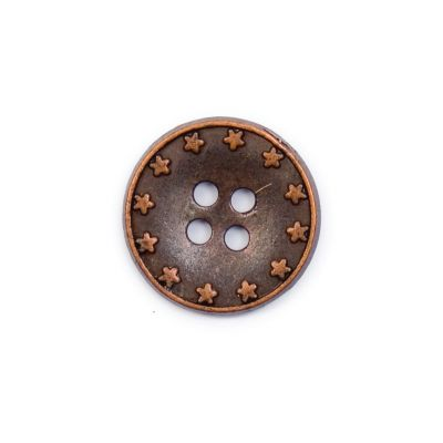 Copper Coloured Star Rimmed Metal Round 4 Hole Button 18mm