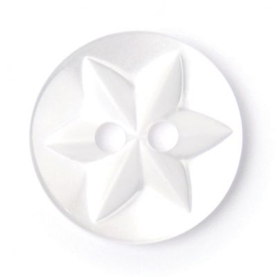 Round Polyester White Flower Button 2 Hole 15mm
