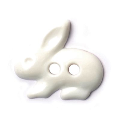 White Rabbit Shaped Button 2 Hole Button 18mm