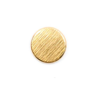 Brushed Metal Round Shank Button Gold Coloured 15mm
