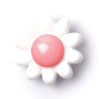 Flower Shaped Pink Centred Shank Button 14mm
