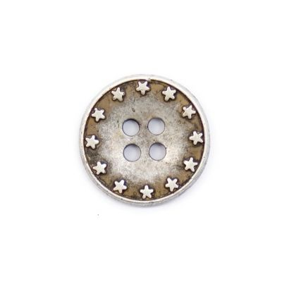 Silver Coloured Star Rimmed Metal Round 4 Hole Button 18mm