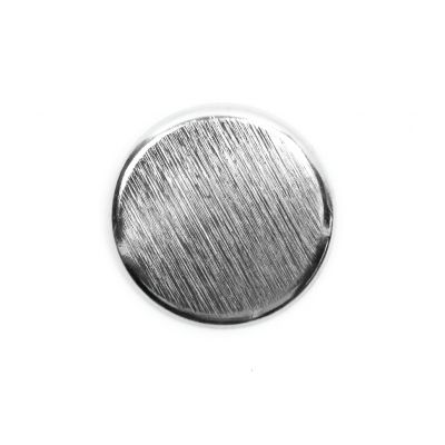 Brushed Metal Round Shank Button Silver Coloured 20mm