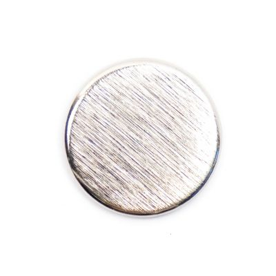 Brushed Metal Round Shank Button Silver Coloured 23mm
