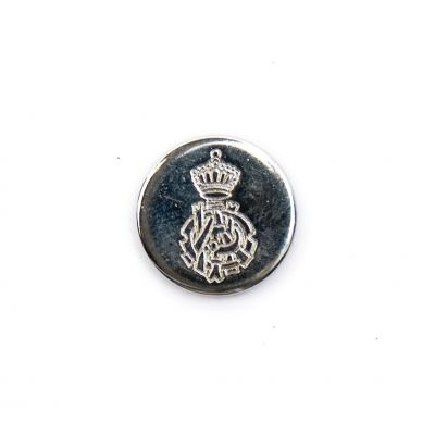 Ornate Crest Metal Round Shank Button Silver Coloured 15mm