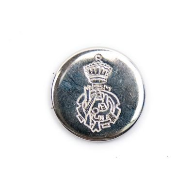 Ornate Crest Metal Round Shank Button Silver Coloured 20mm