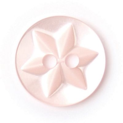 Round Polyester Pink Flower Button 2 Hole 13mm