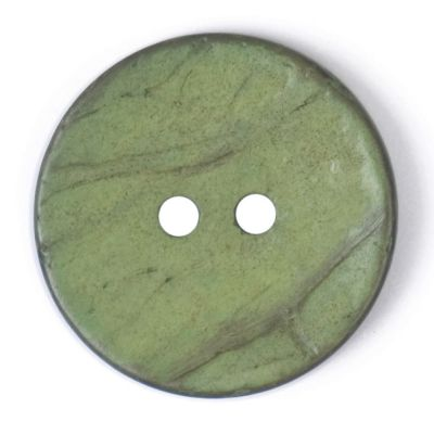 Round Coconut Shell Button - Green - 24mm / 38L