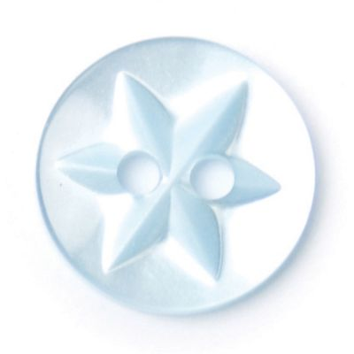 Round Polyester Light Blue Flower Button 2 Hole 13mm
