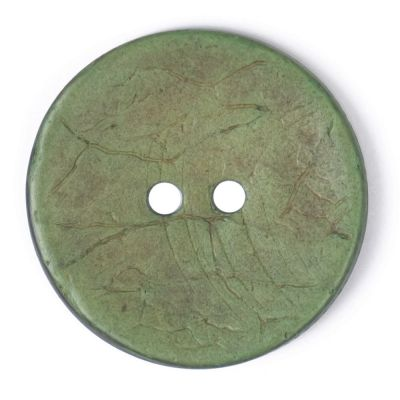 Round Coconut Shell Button - Green - 31mm / 49L