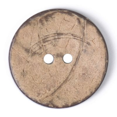 Round Coconut Shell Button - Natural - 31mm / 49L