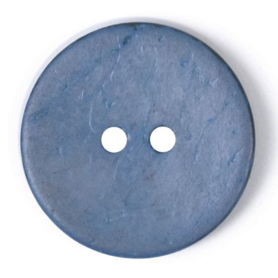 Round Coconut Shell Button - Blue - 24mm / 38L