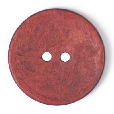 Round Coconut Shell Button - Red - 31mm / 49L
