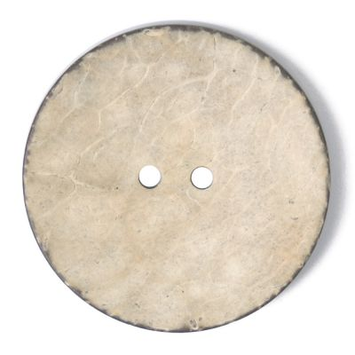 Round Coconut Shell Button - Light Natural - 40mm / 64L