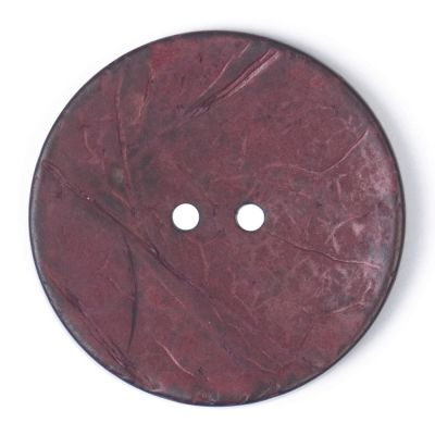 Round Coconut Shell Button - Deep Pink - 40mm / 64L