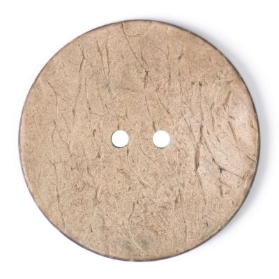 Round Coconut Shell Button - Natural - 40mm / 64L