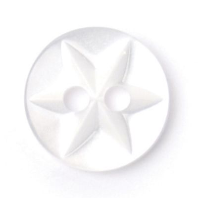 Round Polyester White Flower Button 2 Hole 10mm