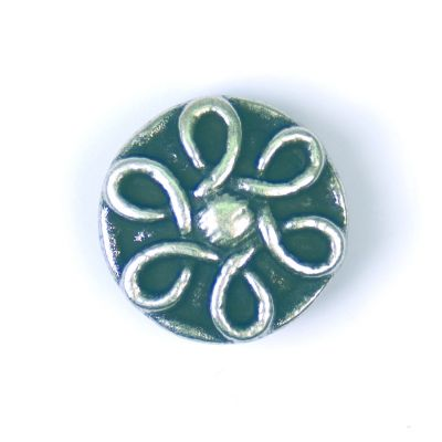 Flower Effect Metal Round Shank Button Silver Coloured 20mm