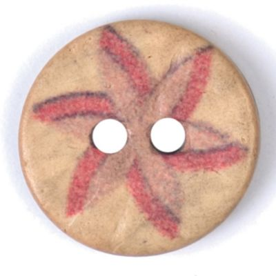 Round Coconut Shell Button - Red & Pink Floral - 15mm / 24L