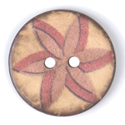Round Coconut Shell Button - Red & Pink Floral - 25mm / 40L