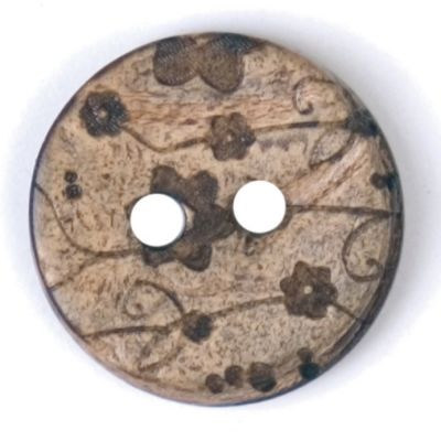 Round Coconut Shell Button - Grey Floral - 15mm / 24L