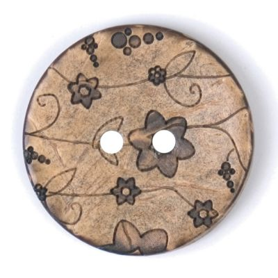 Round Coconut Shell Button - Grey Floral - 25mm / 40L