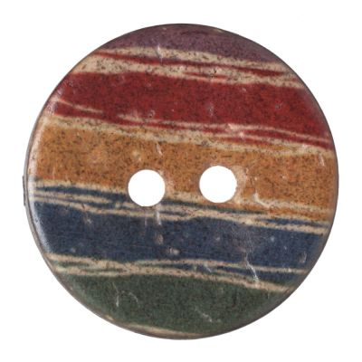 Round Coconut Shell Button - Irregular Rainbow Stripe - 18mm / 28L